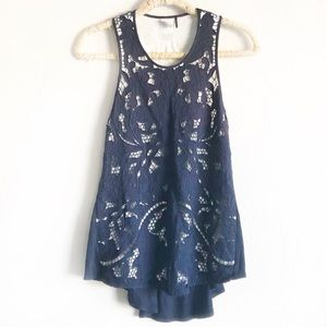 Anthropologie Akemi + Kin Filigree Lace Tank Navy